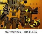 Orange Circuit Board - stock photo
