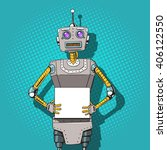 robot with ads  pop art style... | Shutterstock .eps vector #406122550