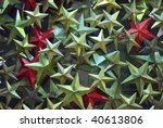 an assortment of festive decorations in metallic green red and white - stock photo
