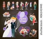 set of happy family  happy... | Shutterstock .eps vector #406142440