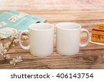 two white mugs for mockup   Shutterstock . vector #406143754