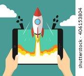 successful startup business... | Shutterstock .eps vector #406153804
