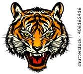 roaring tiger head  stylized... | Shutterstock .eps vector #406163416