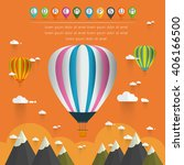 hot air balloon in the sky over ... | Shutterstock .eps vector #406166500