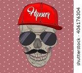 Постер, плакат: Hipster skull cap Hipster