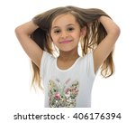 portrait of young girl with... | Shutterstock . vector #406176394