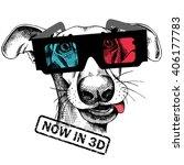 Stock vector dog portrait in a d glasses vector illustration 406177783