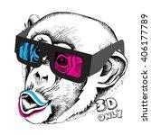 Stock vector monkey portrait in a d glasses vector illustration 406177789