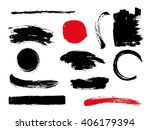 set of hand drawn brushes and... | Shutterstock .eps vector #406179394
