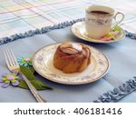 small bundt cake with topping...   Shutterstock . vector #406181416