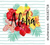hibiscus flowers and palm... | Shutterstock .eps vector #406182718