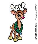 christmas deer cartoon... | Shutterstock . vector #406186990