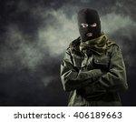 portrait of masked terrorist in ...   Shutterstock . vector #406189663