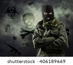 portrait of masked terrorist in ...   Shutterstock . vector #406189669