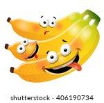 fun cute bunch banana cartoon...   Shutterstock .eps vector #406190734