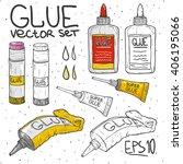 cartoon doodle set tube of glue ...   Shutterstock .eps vector #406195066