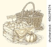 engraving wicker basket with... | Shutterstock .eps vector #406199374