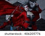 japan female warrior   kabuki   ... | Shutterstock . vector #406205776
