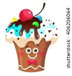 handmade cute cartoon cup cake... | Shutterstock .eps vector #406206064