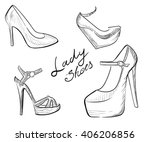 Lady Shoes Sketched Woman's...