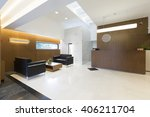 reception area with wooden... | Shutterstock . vector #406211704