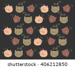 colorful pattern music cat on... | Shutterstock .eps vector #406212850