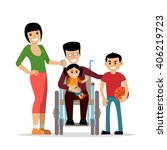 disabled young man in... | Shutterstock .eps vector #406219723