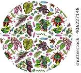 tropical plant pattern | Shutterstock .eps vector #406227148
