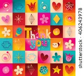 thank you greeting card with... | Shutterstock . vector #406243978