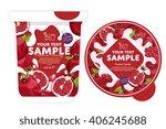 pomegranate yogurt package... | Shutterstock .eps vector #406245688