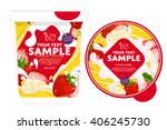 strawberry banana yogurt... | Shutterstock .eps vector #406245730