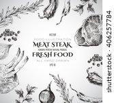 vector steak meat hand drawing... | Shutterstock .eps vector #406257784