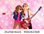 two little girl singing a song... | Shutterstock . vector #406262368