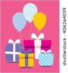 happy birthday card  balloons...   Shutterstock .eps vector #406264039