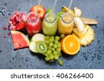 fresh juices smoothie red green ... | Shutterstock . vector #406266400