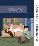 couple resting at home. girl... | Shutterstock .eps vector #406275994