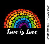 mosaic rainbow on black... | Shutterstock .eps vector #406291024