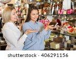 happy female customers... | Shutterstock . vector #406291156