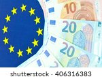 Euro zone concept with currency end EU flag - stock photo
