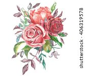 watercolor bouquet of flowers... | Shutterstock . vector #406319578