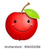 vector ripe apple fruit cartoon ... | Shutterstock .eps vector #406326286