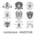 set of fencing sports vector... | Shutterstock .eps vector #406327438