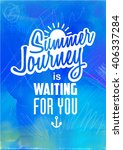 hello summer  vector watercolor ... | Shutterstock .eps vector #406337284