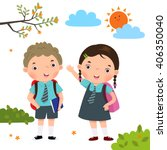 Vector Illustration Of Two Kid...