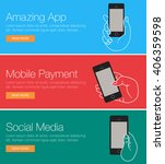 mobile phone for header or... | Shutterstock .eps vector #406359598