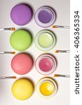 cosmetic bright macaroons lying ...   Shutterstock . vector #406365334