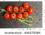 branch of ripe red cherry... | Shutterstock . vector #406378384