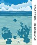 underwater landscape with... | Shutterstock .eps vector #406381438