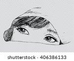 woman eye peeking  face...
