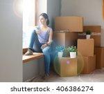 girl sitting on windowsill at... | Shutterstock . vector #406386274